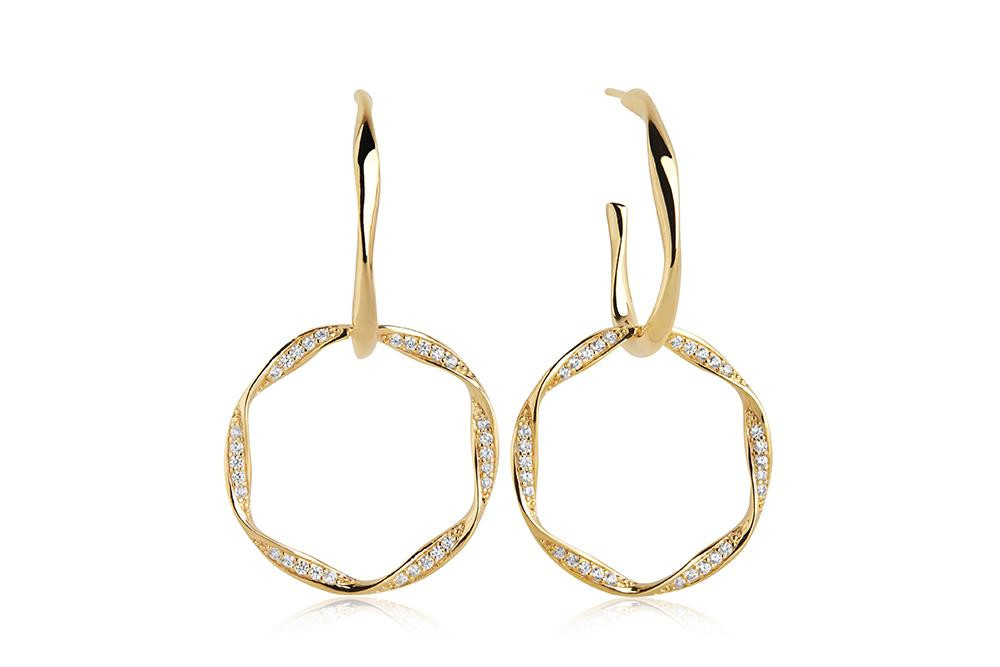 Cetara Due Earrings - White Zirconia - Forgyldt
