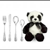 Rustfrit stål bestik m. panda inkl. bamse